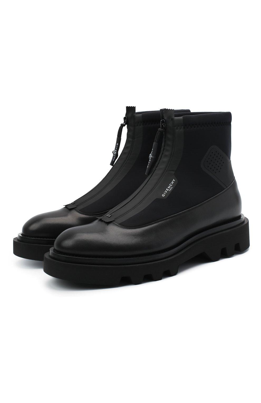 Мужские комбинированные ботинки combat GIVENCHY черного цвета, арт. BH601ZH0NN | Фото 1