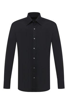 Мужская хлопковая сорочка TOM FORD черного цвета, арт. QFT195/94S1JE | Фото 1 (Рукава: Длинные; Длина (для топов): Стандартные; Материал внешний: Хлопок; Случай: Формальный; Стили: Классический; Воротник: Кент)