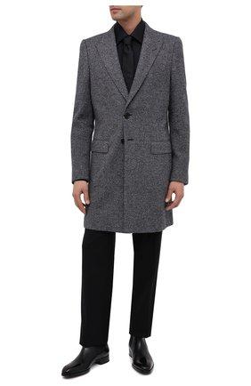 Мужская хлопковая сорочка TOM FORD черного цвета, арт. QFT195/94S1JE | Фото 2 (Рукава: Длинные; Длина (для топов): Стандартные; Материал внешний: Хлопок; Случай: Формальный; Стили: Классический; Воротник: Кент)