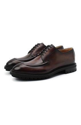 Мужские кожаные дерби BERLUTI темно-коричневого цвета, арт. S5113-001 | Фото 1 (Материал внутренний: Натуральная кожа; Стили: Классический)