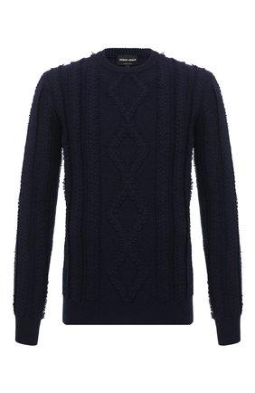 Мужской свитер из шерсти и кашемира GIORGIO ARMANI темно-синего цвета, арт. 6HSM21/SM28Z | Фото 1