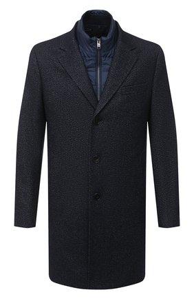 Мужской пальто из шерсти и вискозы BOSS темно-синего цвета, арт. 50438523 | Фото 1
