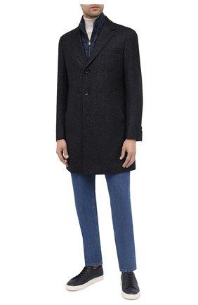 Мужской пальто из шерсти и вискозы BOSS темно-синего цвета, арт. 50438523 | Фото 2