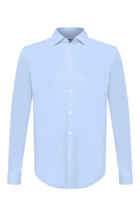 Мужская хлопковая сорочка BOSS голубого цвета, арт. 50440257 | Фото 1