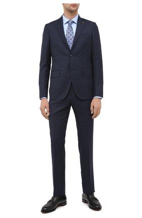 Мужская хлопковая сорочка BOSS голубого цвета, арт. 50440257   Фото 2