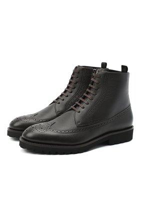 Мужские кожаные ботинки BOSS темно-коричневого цвета, арт. 50439770 | Фото 1
