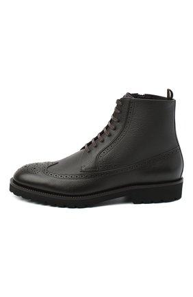 Мужские кожаные ботинки BOSS темно-коричневого цвета, арт. 50439770 | Фото 3