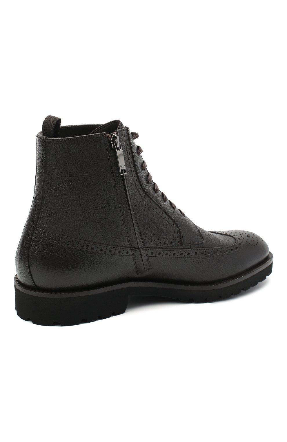 Мужские кожаные ботинки BOSS темно-коричневого цвета, арт. 50439770 | Фото 4