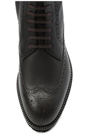 Мужские кожаные ботинки BOSS темно-коричневого цвета, арт. 50439770 | Фото 5