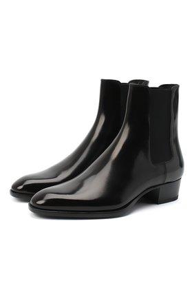 Мужские кожаные челси SAINT LAURENT черного цвета, арт. 631601/1Y000 | Фото 1