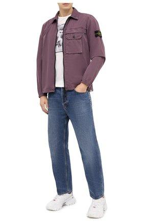 Мужская хлопковая рубашка STONE ISLAND бордового цвета, арт. 7315107WN   Фото 2