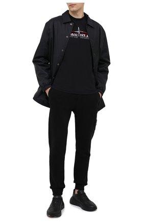 Мужской хлопковые джоггеры STONE ISLAND черного цвета, арт. 731564520   Фото 2