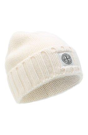 Мужская шерстяная шапка STONE ISLAND белого цвета, арт. 7315N17D6 | Фото 1