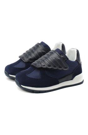 Детские кожаные кроссовки EMPORIO ARMANI синего цвета, арт. XMX005/X0C03   Фото 1