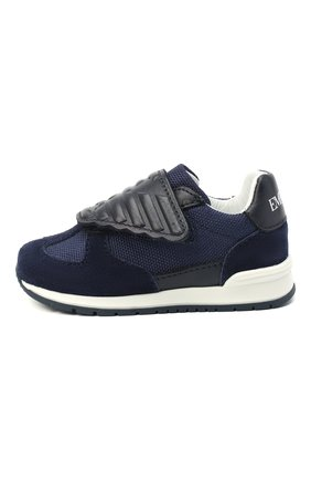 Детские кожаные кроссовки EMPORIO ARMANI синего цвета, арт. XMX005/X0C03   Фото 2