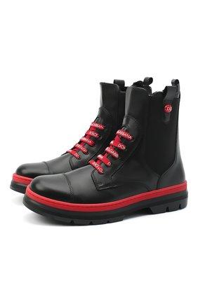 Детские кожаные ботинки DOLCE & GABBANA черного цвета, арт. D10969/A1889/37-39 | Фото 1