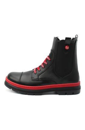 Детские кожаные ботинки DOLCE & GABBANA черного цвета, арт. D10969/A1889/37-39 | Фото 2