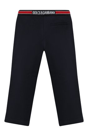 Детские хлопковые брюки DOLCE & GABBANA темно-синего цвета, арт. L4JPBT/G7XDD/2-6 | Фото 2