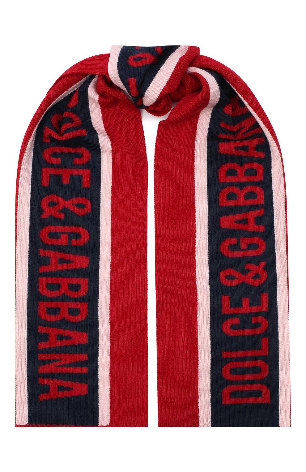 Детский шерстяной шарф DOLCE & GABBANA красного цвета, арт. LBKA53/JAVWG | Фото 1