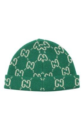 Детского шерстяная шапка GUCCI зеленого цвета, арт. 627559/3K206 | Фото 2