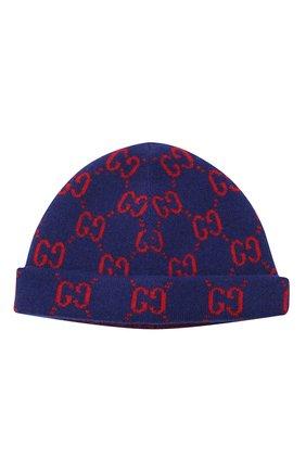 Детского шерстяная шапка GUCCI синего цвета, арт. 627559/3K206 | Фото 1