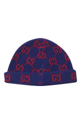 Детского шерстяная шапка GUCCI синего цвета, арт. 627559/3K206 | Фото 2