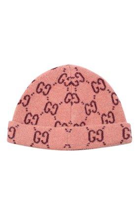 Детского шерстяная шапка GUCCI розового цвета, арт. 627559/3K206 | Фото 2