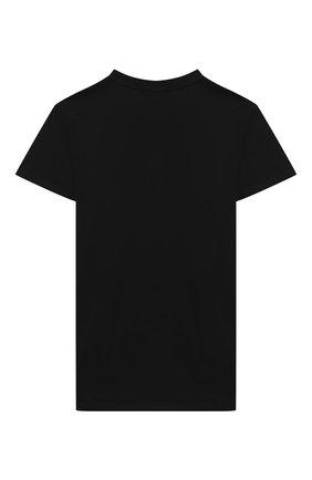 Детская хлопковая футболка MSGM KIDS черного цвета, арт. 025028 | Фото 2