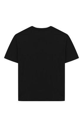 Детская хлопковая футболка MSGM KIDS черного цвета, арт. 025213 | Фото 2