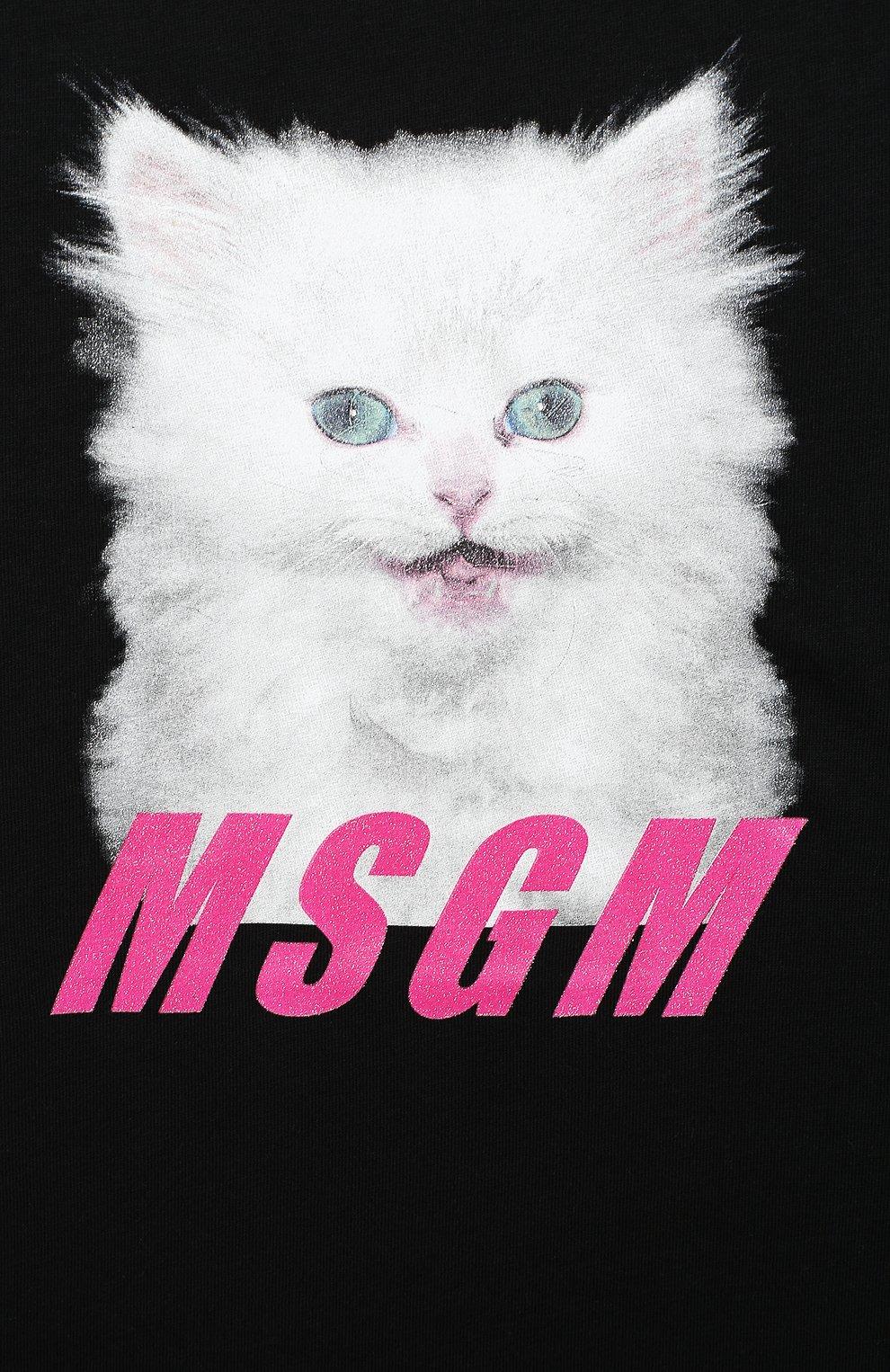 Детская хлопковая футболка MSGM KIDS черного цвета, арт. 025213 | Фото 3