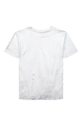 Детская хлопковая футболка MSGM KIDS серебряного цвета, арт. 025307 | Фото 2