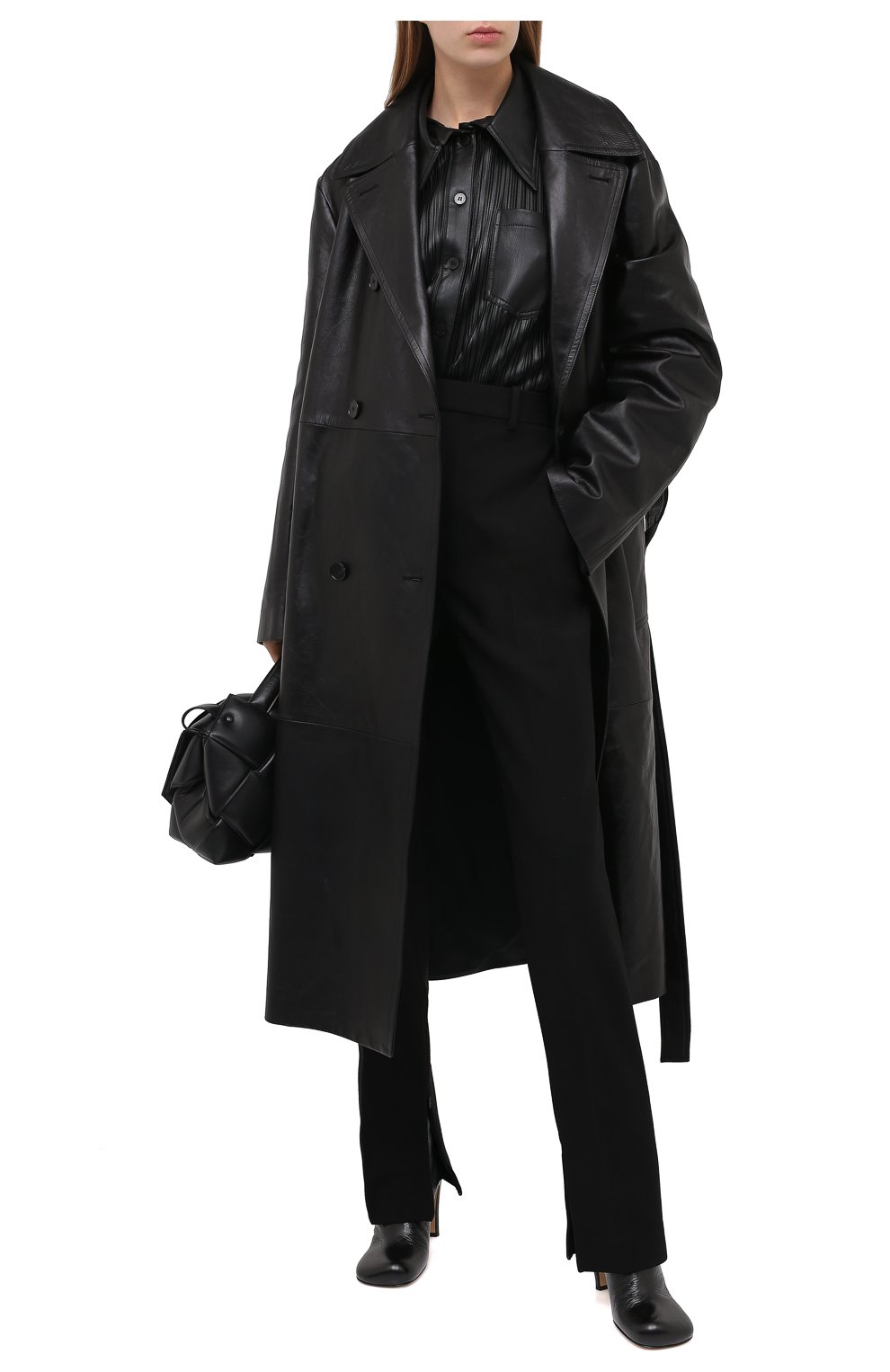 Женские брюки BOTTEGA VENETA черного цвета, арт. 636529/V02W0 | Фото 2
