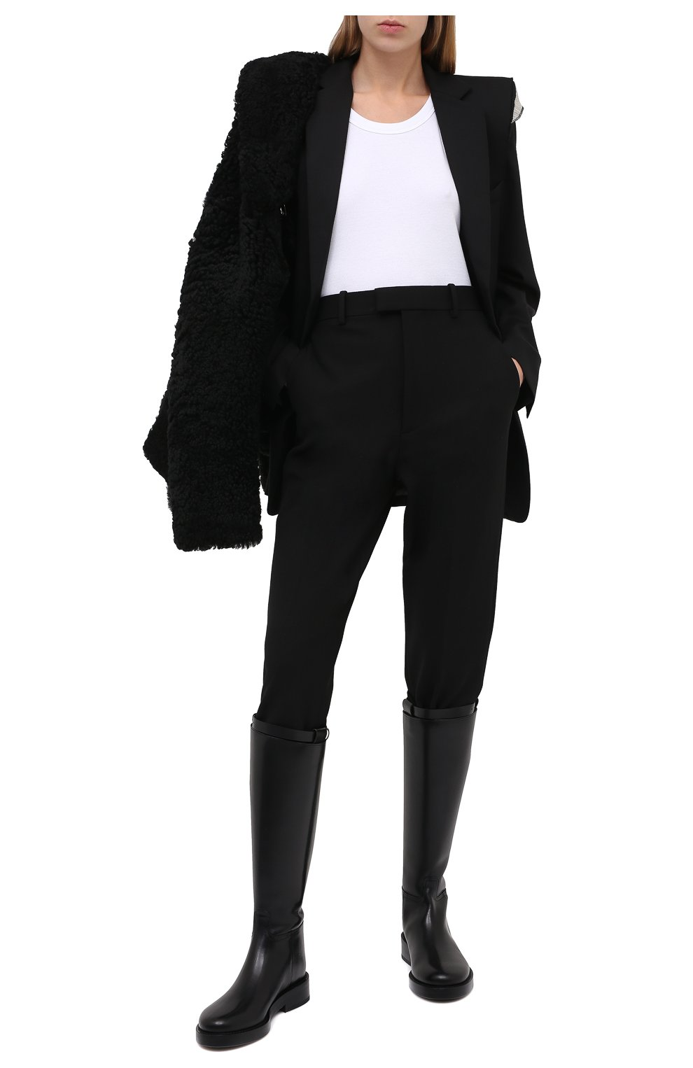 Женские брюки BOTTEGA VENETA черного цвета, арт. 636529/V02W0 | Фото 3