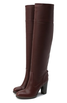 Женские кожаные сапоги emma CHLOÉ бордового цвета, арт. CHC20A348M4   Фото 1