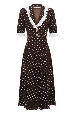 Женское шелковое платье ALESSANDRA RICH коричневого цвета, арт. FAB2206-F2923 | Фото 1