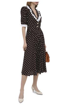 Женское шелковое платье ALESSANDRA RICH коричневого цвета, арт. FAB2206-F2923 | Фото 2