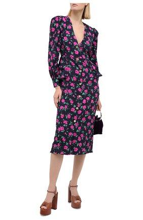 Женское шелковое платье ALESSANDRA RICH синего цвета, арт. FAB2222-F2903 | Фото 2