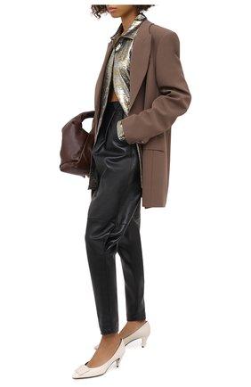 Женские кожаные брюки ALESSANDRA RICH черного цвета, арт. FAB2274-L3035 | Фото 2