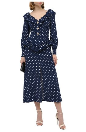 Женское шелковое платье ALESSANDRA RICH синего цвета, арт. FAB2315-F2923 | Фото 2