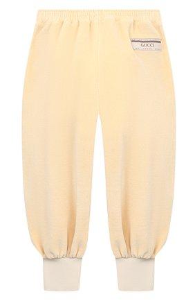 Детские хлопковые брюки GUCCI бежевого цвета, арт. 634414/XJCT8 | Фото 2