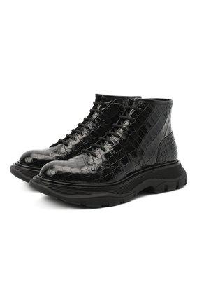 Женские кожаные ботинки ALEXANDER MCQUEEN черного цвета, арт. 633905/WHYQ1 | Фото 1