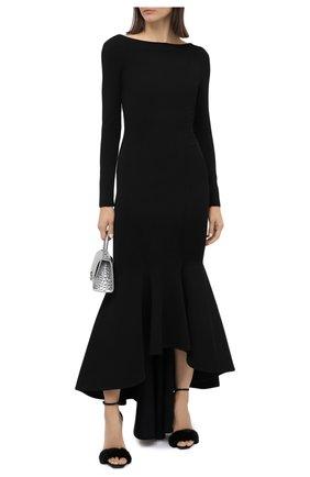 Женские кожаные босоножки bea SAINT LAURENT черного цвета, арт. 631010/E0E10 | Фото 2 (Подошва: Плоская; Каблук высота: Высокий; Материал внутренний: Натуральная кожа; Каблук тип: Шпилька)