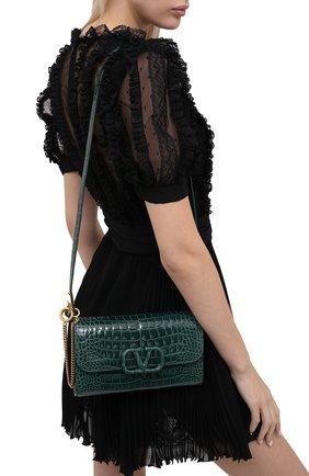 Женский клатч valentino garavani из кожи аллигатора VALENTINO зеленого цвета, арт. UW2B0H28/XDE/AMIS | Фото 2