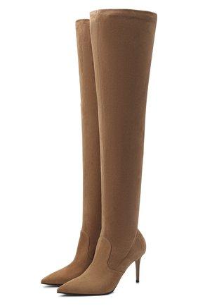 Женские замшевые ботфорты LE SILLA бежевого цвета, арт. 2155M080R1PPVST | Фото 1