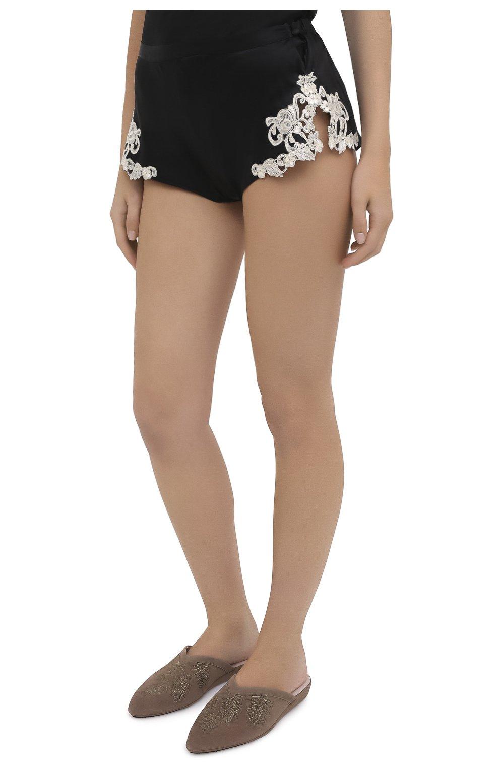 Женские шелковые шорты LA PERLA черно-белого цвета, арт. 0019228/0202 | Фото 3