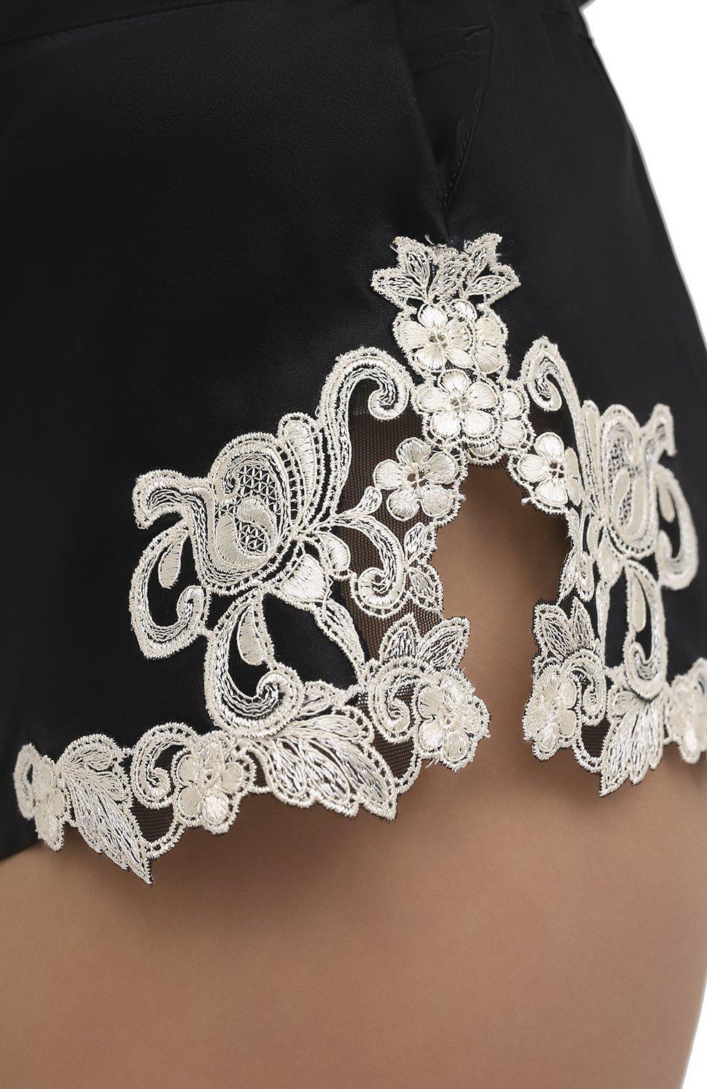 Женские шелковые шорты LA PERLA черно-белого цвета, арт. 0019228/0202 | Фото 5