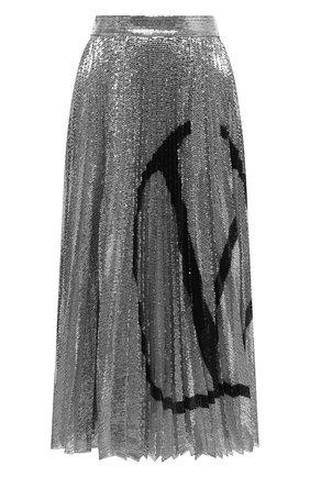 Женская юбка с пайетками VALENTINO серебряного цвета, арт. UB3MD02E5NF | Фото 1
