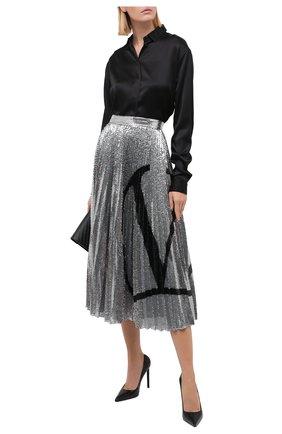 Женская юбка с пайетками VALENTINO серебряного цвета, арт. UB3MD02E5NF | Фото 2