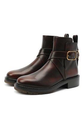 Женские кожаные ботинки diane CHLOÉ коричневого цвета, арт. CHC20U315L2 | Фото 1