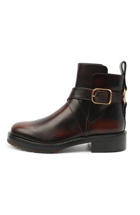 Женские кожаные ботинки diane CHLOÉ коричневого цвета, арт. CHC20U315L2 | Фото 3
